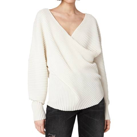 VICTORIA, VICTORIA BECKHAM Ivory Drape Front Wool Sweater