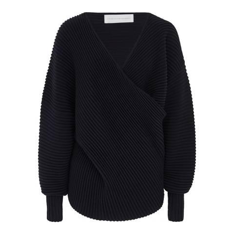 VICTORIA, VICTORIA BECKHAM Midnight Drape Front Wool Sweater