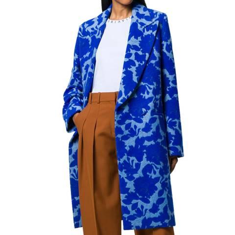 VICTORIA, VICTORIA BECKHAM Atlantic Blue Floral Wool Blend Coat