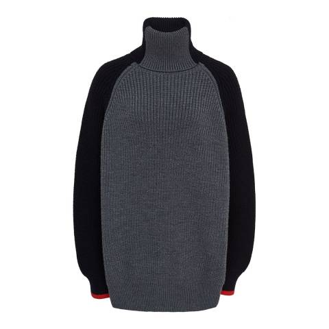 VICTORIA, VICTORIA BECKHAM Colour Block Wool Blend Turtleneck