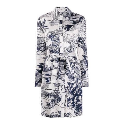 VICTORIA, VICTORIA BECKHAM Ivory/Midnight Forest Print Shirt Dress