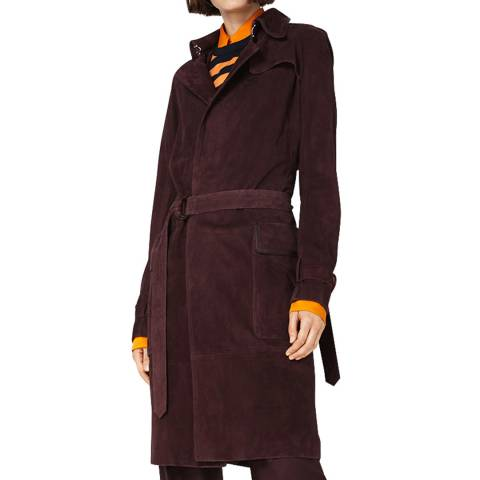 VICTORIA, VICTORIA BECKHAM Mahogany Suede/ Leather Trench Coat