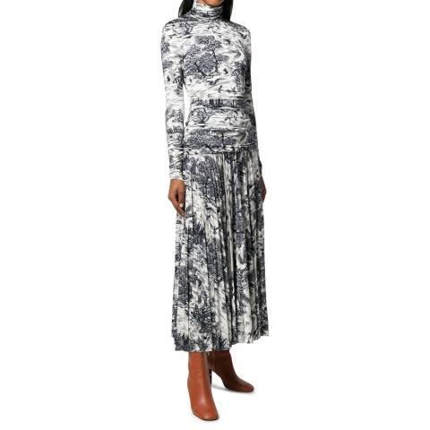 VICTORIA, VICTORIA BECKHAM Forest / Midnight Blue Forest Print Dress