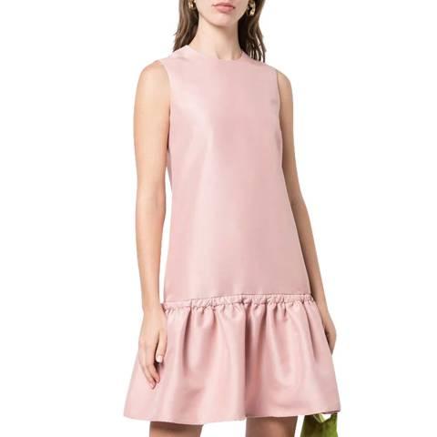 VICTORIA, VICTORIA BECKHAM Quartz Pink Tie Waist Flounce Dress