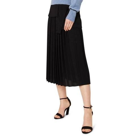 VICTORIA, VICTORIA BECKHAM Black Side Tie Pleat Skirt