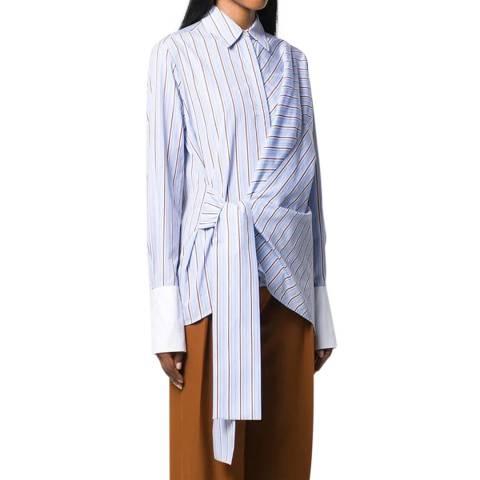 VICTORIA, VICTORIA BECKHAM Oxford Blue Stripe Wrap Front Shirt