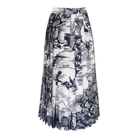 VICTORIA, VICTORIA BECKHAM Forest/Midnight Pleated Print Skirt
