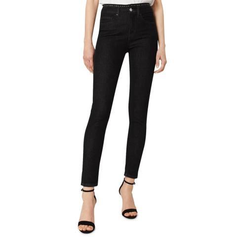 VICTORIA, VICTORIA BECKHAM Black Rinse Logo Tape Stretch Jeans