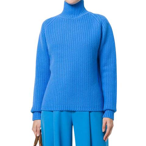 VICTORIA, VICTORIA BECKHAM Blue Relaxed Funnel Neck Jumper