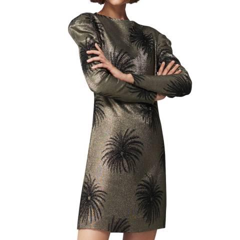 VICTORIA, VICTORIA BECKHAM Gold/Black Tuck Shoulder Shift Dress