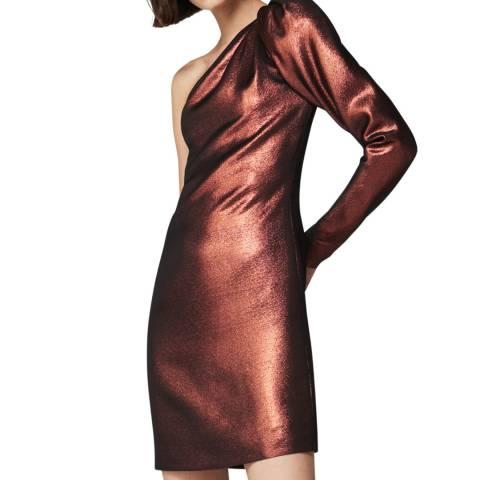 VICTORIA, VICTORIA BECKHAM Copper One Shoulder Twist Dress