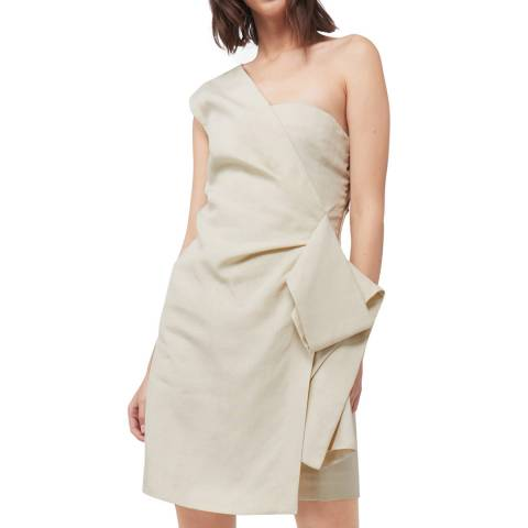 VICTORIA, VICTORIA BECKHAM Beige One Shoulder Dress