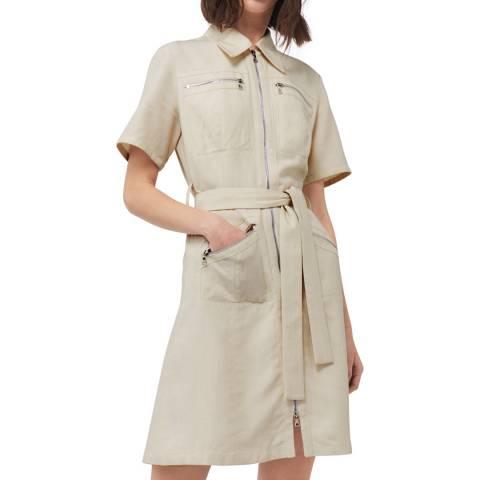 VICTORIA, VICTORIA BECKHAM Beige Pocket Mini Dress