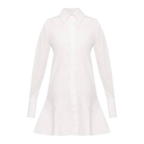 VICTORIA, VICTORIA BECKHAM White Flounce Hem Shirt Dress