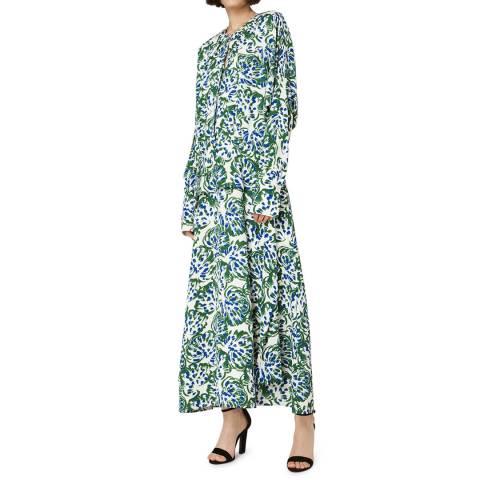 VICTORIA, VICTORIA BECKHAM Abstract Floral Long Sleeve Drape Dress