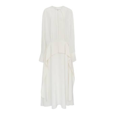 VICTORIA, VICTORIA BECKHAM Ivory Long Sleeve Drape Dress