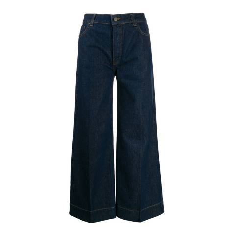 VICTORIA, VICTORIA BECKHAM Raw Blue Cropped Wide Leg Stretch Jean
