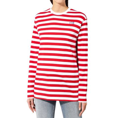VICTORIA, VICTORIA BECKHAM Red/White Striped Long Sleeve Cotton Tee