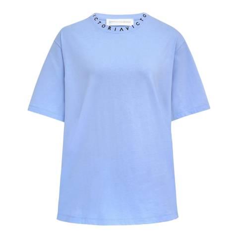 VICTORIA, VICTORIA BECKHAM Blue Logo Cotton Victoria Tee