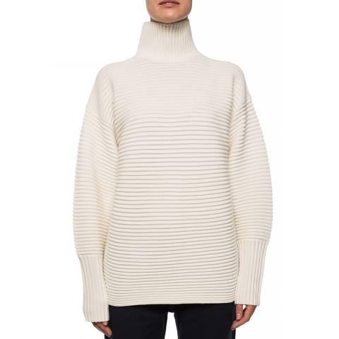 VICTORIA, VICTORIA BECKHAM Ivory Curved Sleeve Wool Turtleneck