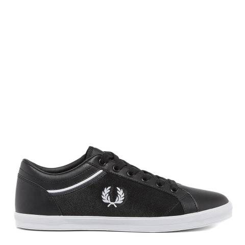 Fred Perry Black Leather Mesh Baseline Tipped Collar Sneakers