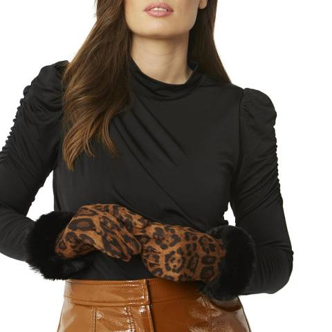 JayLey Collection Chocolate Animal Print Gloves with Faux Fur Trim