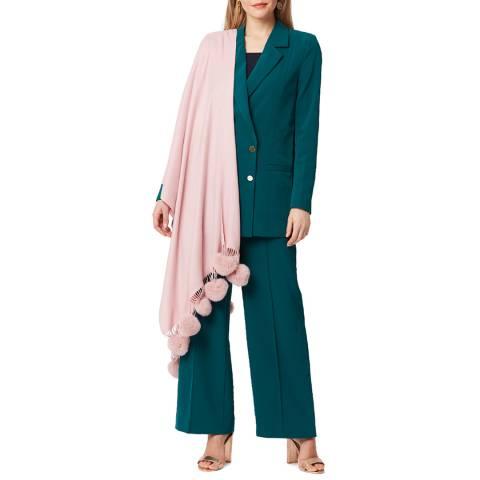 JayLey Collection Pink Cashmere/Silk Blend Pashmina with Pom Poms