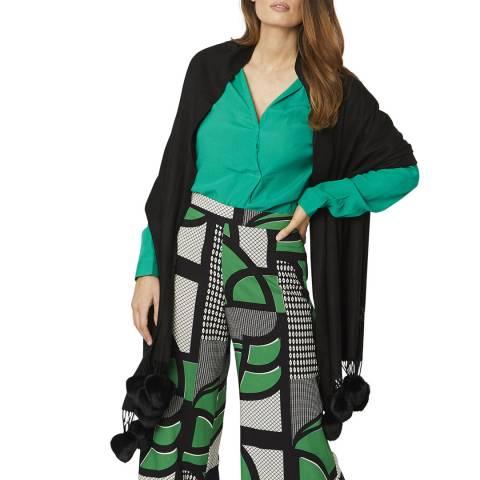 JayLey Collection Black Cashmere/Silk Blend Pashmina with Pom Poms