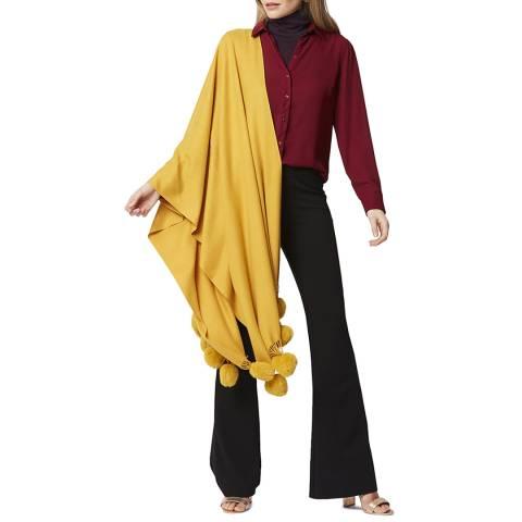 JayLey Collection Mustard Cashmere/Silk Blend Pashmina with Pom Poms
