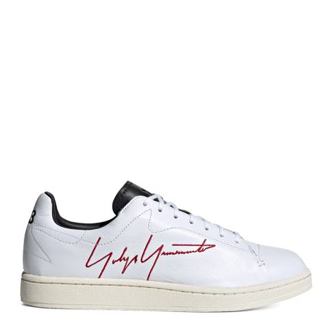 adidas Y-3 White/Red/Black Yohji Court Sneakers