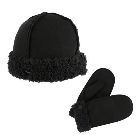 Regatta Black Corbina Hat & Mitt Set