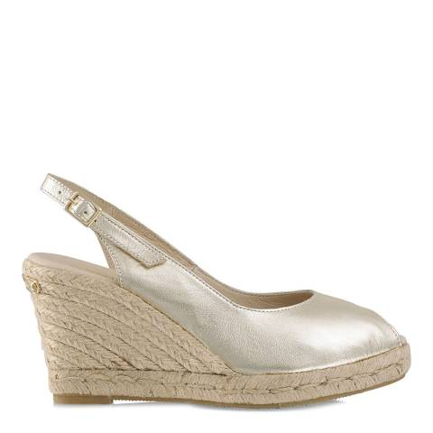 Russell & Bromley Gold Jute Wedge Peep Slingback Shoes