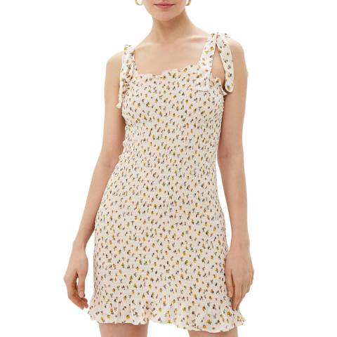 Free People Off White Bella Smocked Ruched Slip Dress