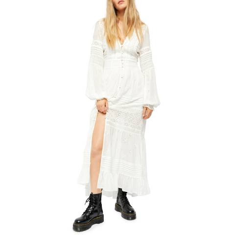 Free People White Lisa Embroidered Dress