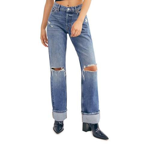 Free People Blue Wild Flower Straight Cotton Jeans