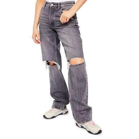 Free People Grey Wild Flower Boyfriend Cotton Jeans