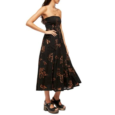 Free People Black/Multi Baja Babe Midi Dress