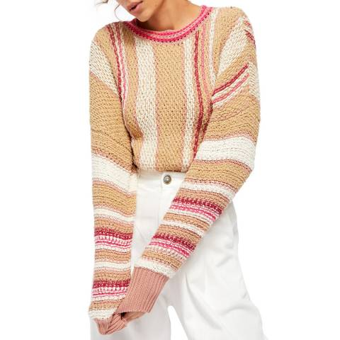 Free People Beige Show Me Love Cotton Blend Jumper