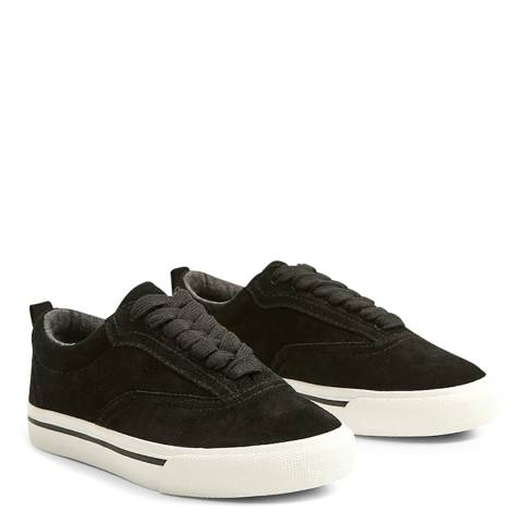 Mango Boy's Black Lace-Up Leather Sneakers