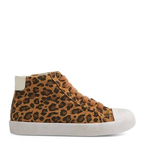 Mango Brown Leopard Leather Sneakers