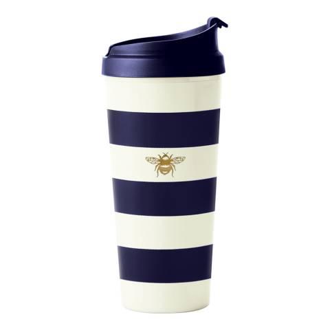 Kate Spade Thermal Mug, Navy Stripe With Bee