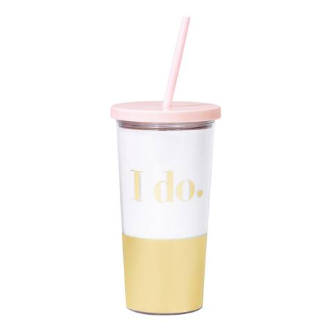Kate Spade Bridal Tumbler with Straw, I Do