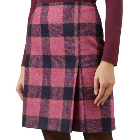 Hobbs London Pink Check Avery Wool Skirt