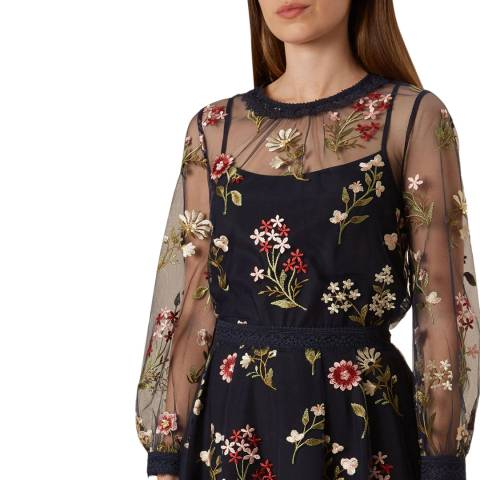 Hobbs London Navy Floral Victoria Posey Top