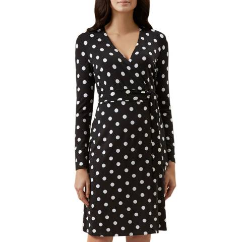 Hobbs London Black Dot Delilah Wrap Dress