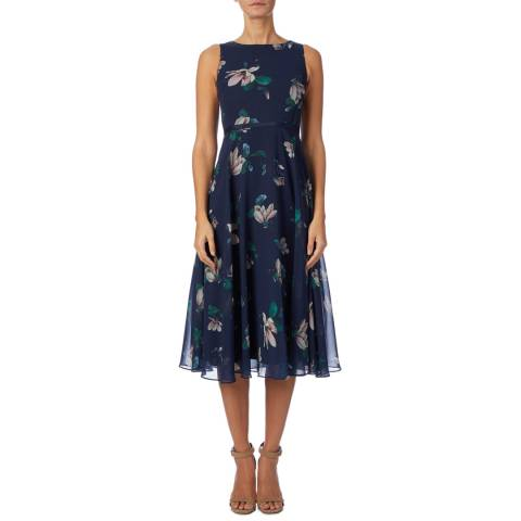 Hobbs London Navy Floral Carly Petite Dress