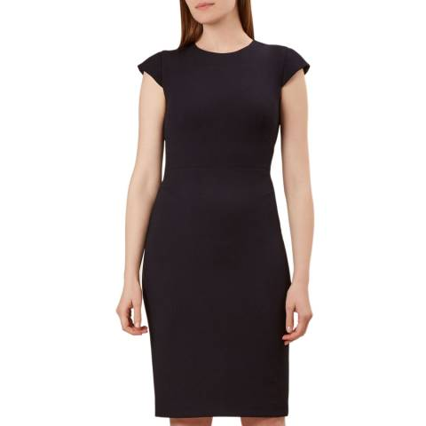 Hobbs London Navy Helena Pique Dress