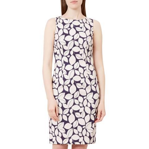 Hobbs London Navy Leaf Moira Dress
