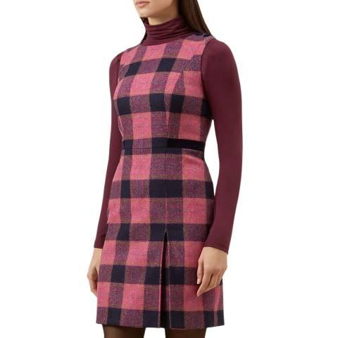 Hobbs London Pink Check Avery Wool Dress