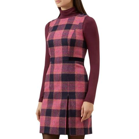 Hobbs London Pink Check Avery Wool Dress